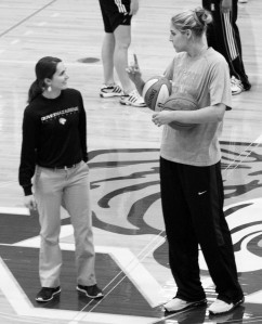 ONU head women's basketball coach, Lauren Stamatis talks to Elena Delle Donne during the basketball clinic. Photo by Janet McDowell.