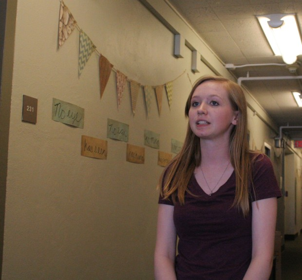 "Kaleigh Allen, freshman, speaks to The GlimmerGlass for Life & Culture's ""You're Olivet"" Project."
