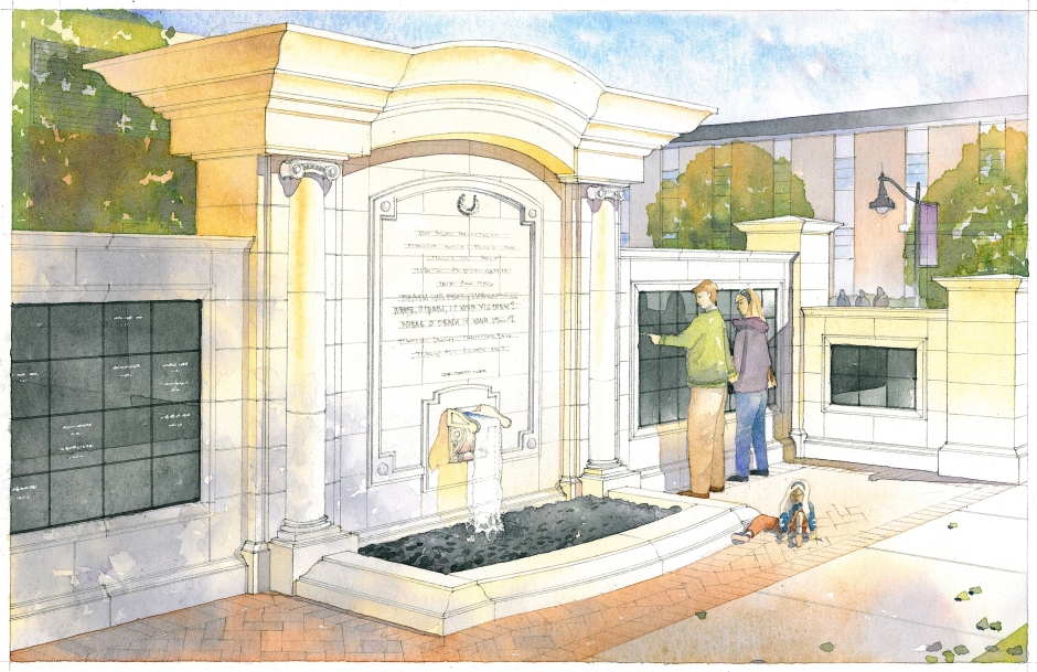 The plan for the columbarium is to have architectural features on the wall, including a fountain and a garden area. This space is meant to serve as an environment that invites loved ones to reflect on the lives of those who have passed. Construction will begin summer of 2017 and be finalized November 2017. Photo Provided by Hitchcock Design Group