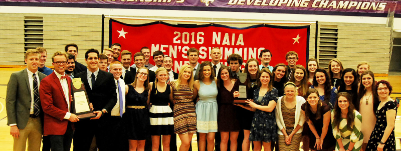 The men's swimming and diving team won Nationals from the NAIA last spring, while the women's team was runners-up for the Women's National Championship. Photo by Alyssa Martinez